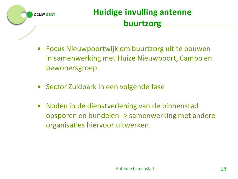 Antenne binnenstad 16 Huidige invulling antenne buurtzorg Focus Nieuwpoortwijk om buurtzorg uit te bouwen in samenwerking met Huize Nieuwpoort, Campo en bewonersgroep.