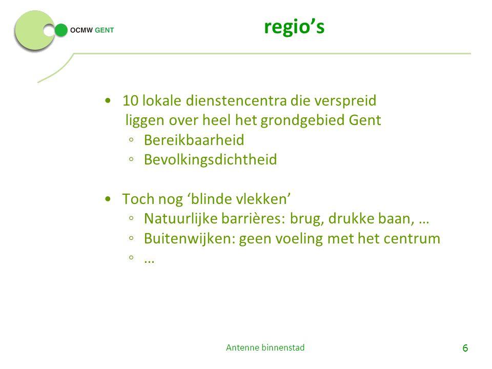6 regio's 10 lokale dienstencentra die verspreid liggen over heel het grondgebied Gent ◦ Bereikbaarheid ◦ Bevolkingsdichtheid Toch nog 'blinde vlekken' ◦ Natuurlijke barrières: brug, drukke baan, … ◦ Buitenwijken: geen voeling met het centrum ◦ …