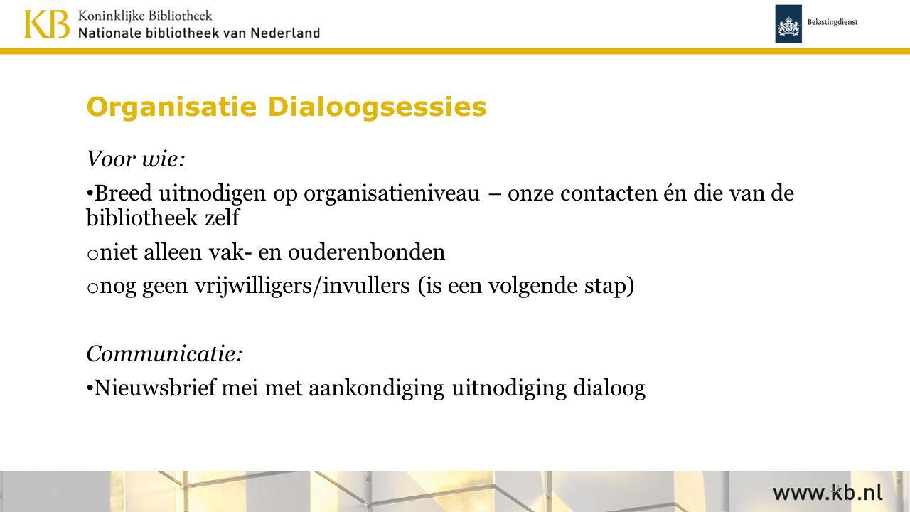 Organisatie Dialoogsessies Voor wie: Breed uitnodigen op organisatieniveau – onze contacten én die van de bibliotheek zelf o niet alleen vak- en ouder