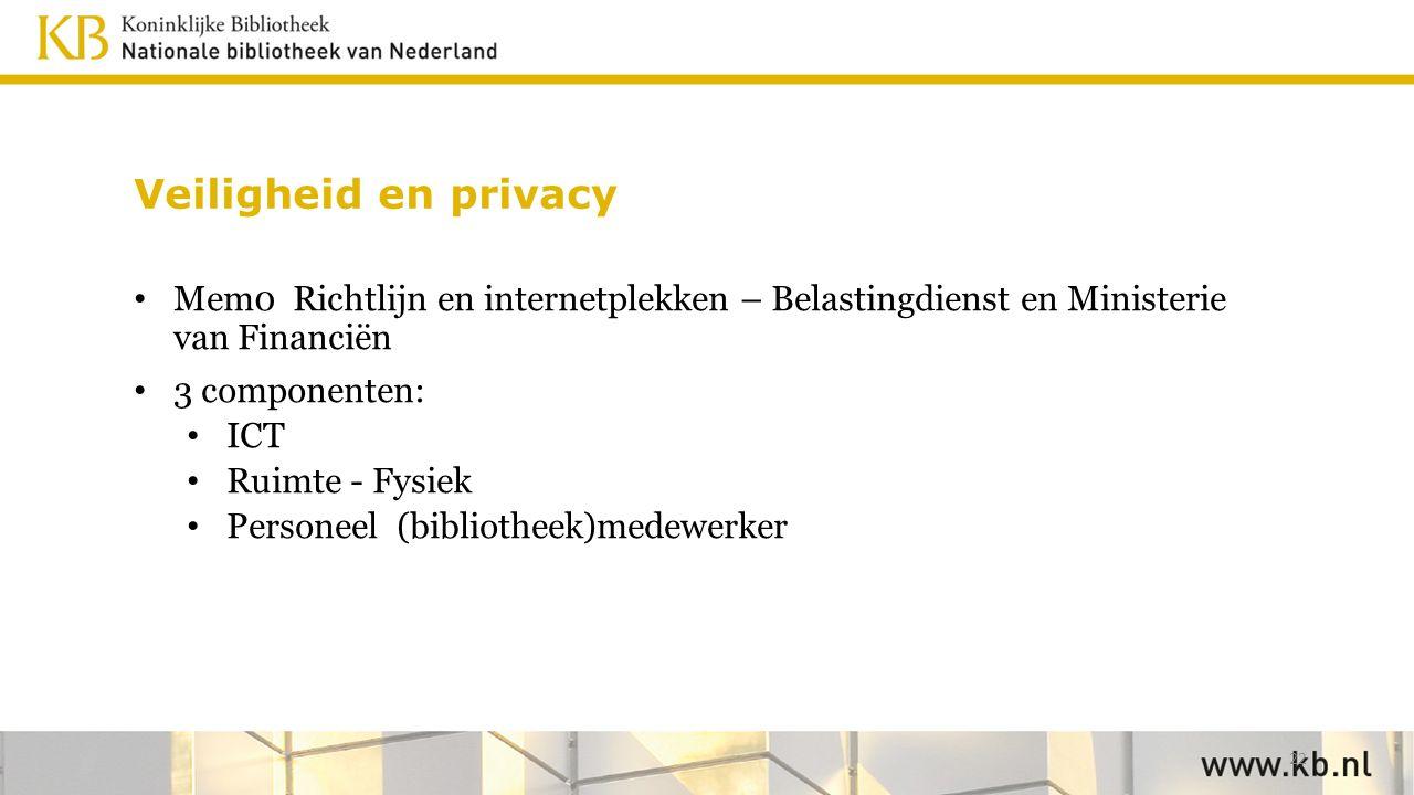 Veiligheid en privacy Mem0 Richtlijn en internetplekken – Belastingdienst en Ministerie van Financiën 3 componenten: ICT Ruimte - Fysiek Personeel (bibliotheek)medewerker 22