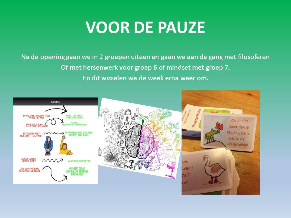 Hersenwerk/mindset Met hersenwerk gaan we met de kinderen aan het werk over de werking van het brein, hoe leer je, hoe onthoud je het beste, enz.
