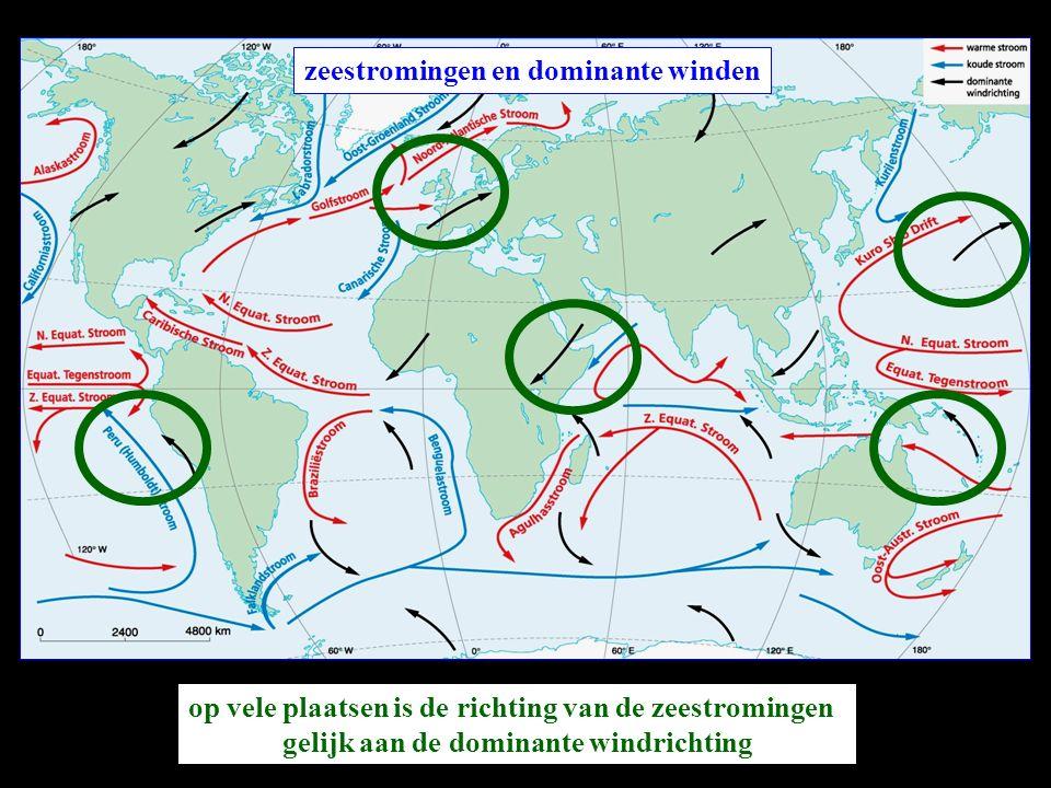 zeestromingen en dominante winden zeestromingen worden ook beïnvloed door de aardrotatie Noordelijk halfrond: ombuiging naar rechts Zuidelijk halfrond: ombuiging naar links