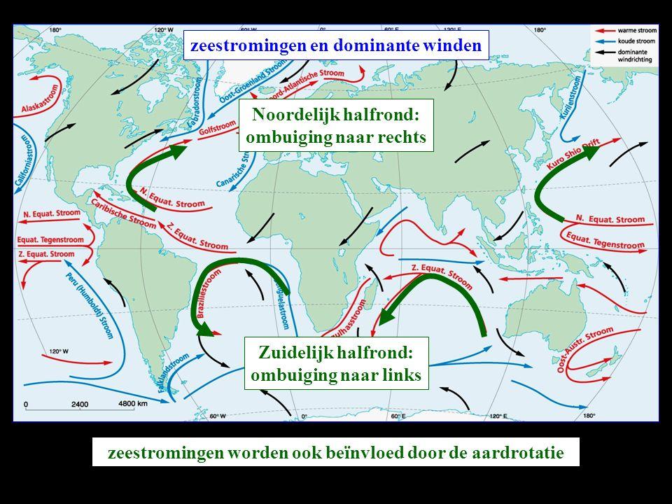 zeestromingen en dominante winden zeestromingen worden ook beïnvloed door de aardrotatie Noordelijk halfrond: ombuiging naar rechts Zuidelijk halfrond