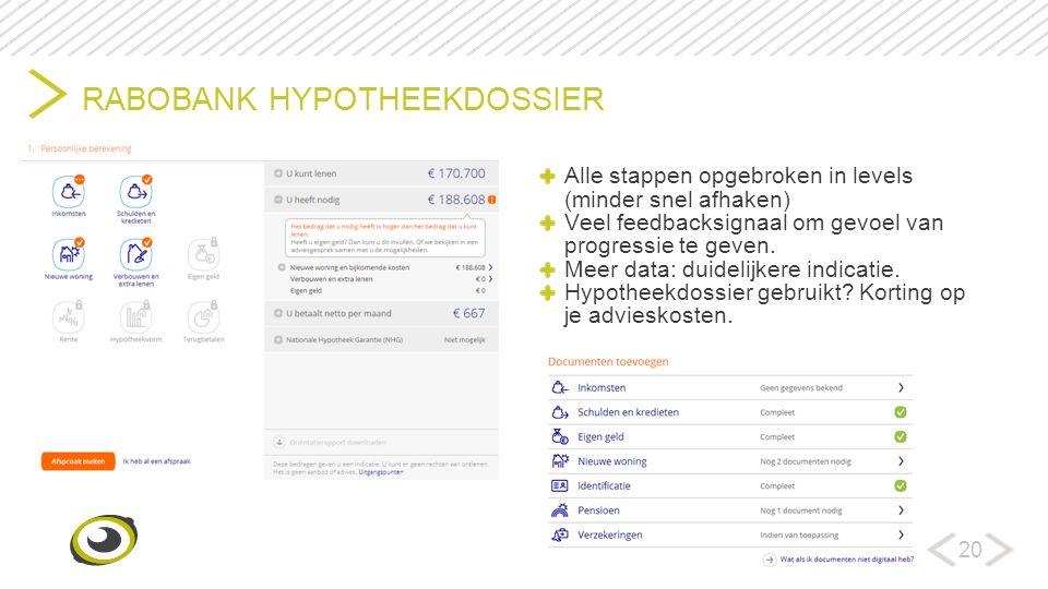 20 RABOBANK HYPOTHEEKDOSSIER Alle stappen opgebroken in levels (minder snel afhaken) Veel feedbacksignaal om gevoel van progressie te geven.