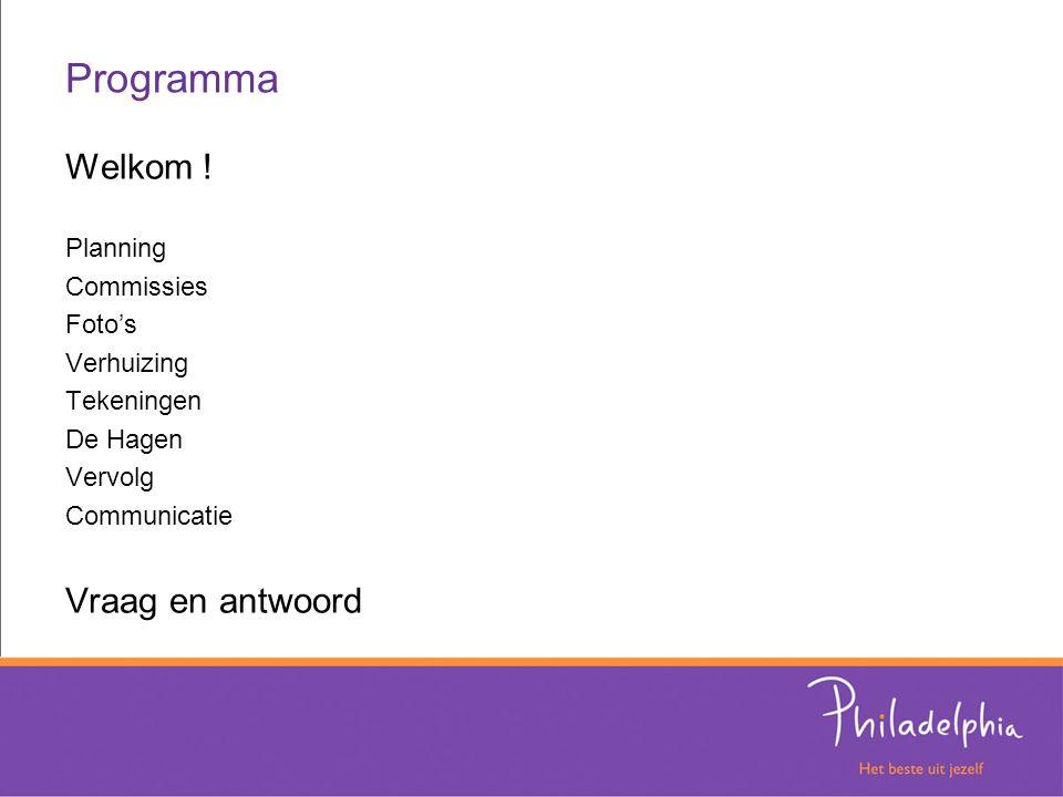 Programma Welkom ! Planning Commissies Foto's Verhuizing Tekeningen De Hagen Vervolg Communicatie Vraag en antwoord