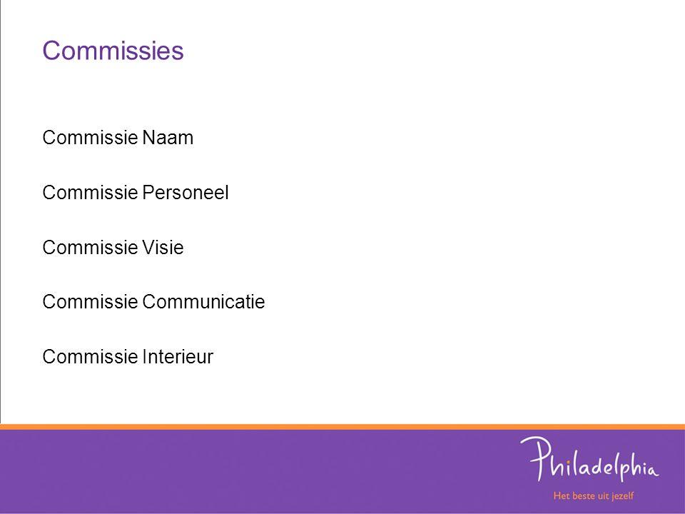 Commissies Commissie Naam Commissie Personeel Commissie Visie Commissie Communicatie Commissie Interieur