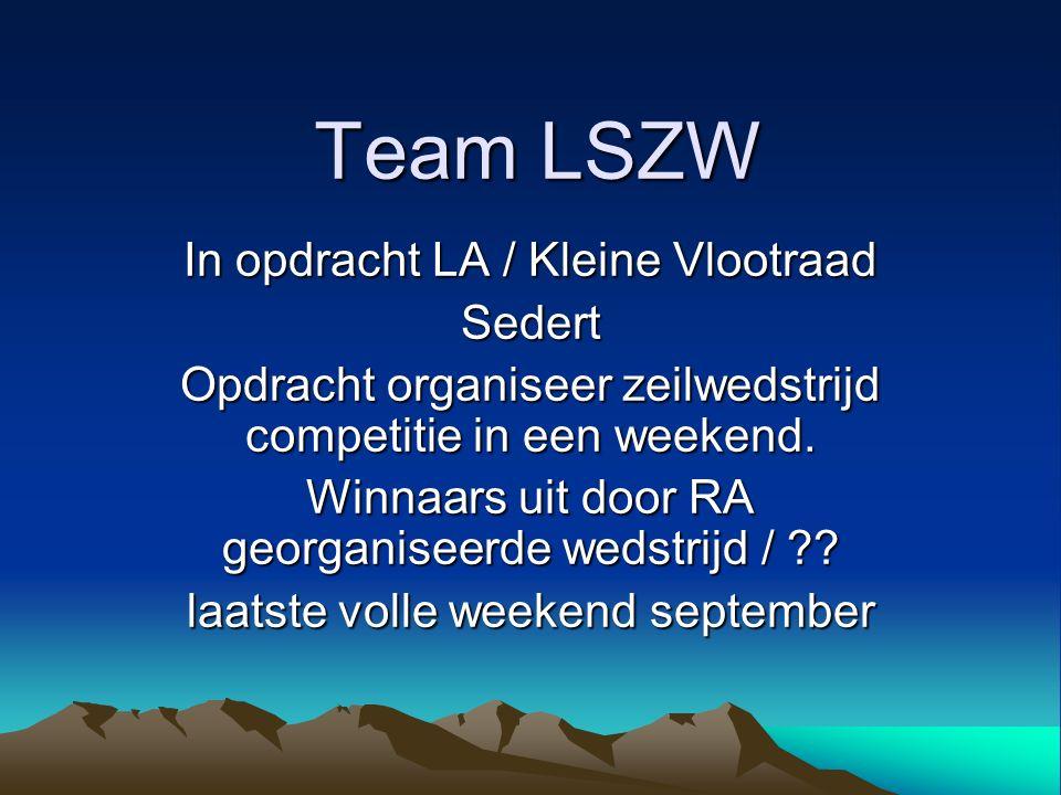 Team LSZW In opdracht LA / Kleine Vlootraad Sedert Opdracht organiseer zeilwedstrijd competitie in een weekend. Winnaars uit door RA georganiseerde we