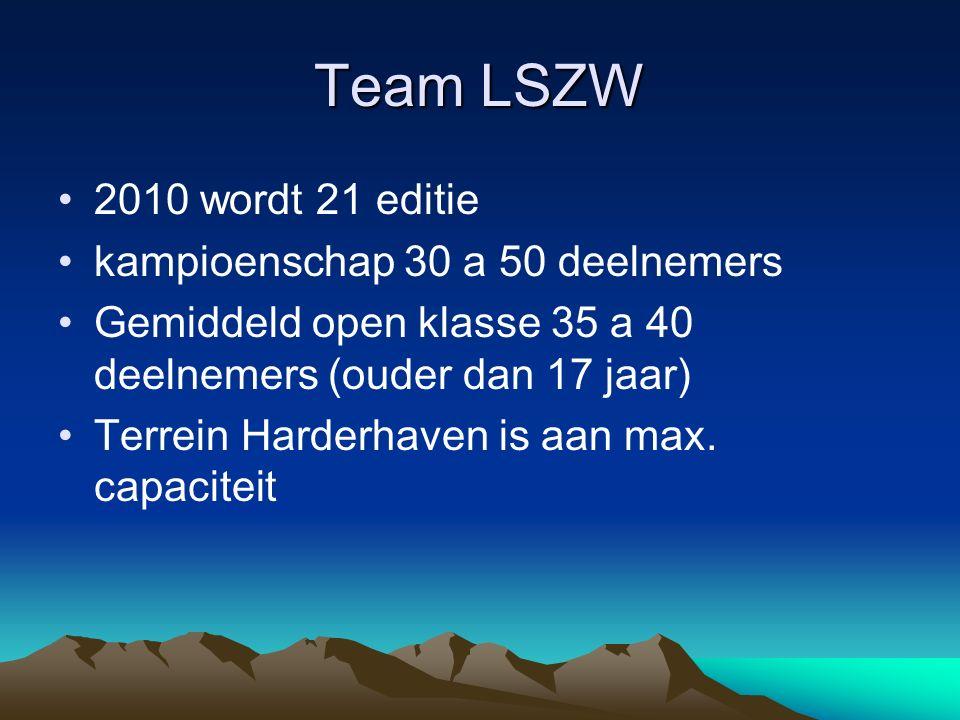 Team LSZW 2010 wordt 21 editie kampioenschap 30 a 50 deelnemers Gemiddeld open klasse 35 a 40 deelnemers (ouder dan 17 jaar) Terrein Harderhaven is aa