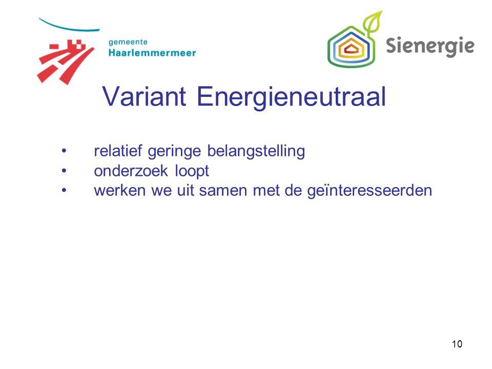 10 relatief geringe belangstelling onderzoek loopt werken we uit samen met de geïnteresseerden Variant Energieneutraal