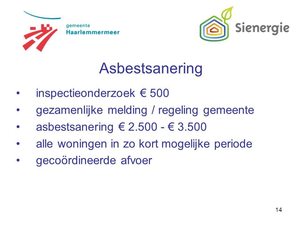 14 inspectieonderzoek € 500 gezamenlijke melding / regeling gemeente asbestsanering € 2.500 - € 3.500 alle woningen in zo kort mogelijke periode gecoördineerde afvoer Asbestsanering