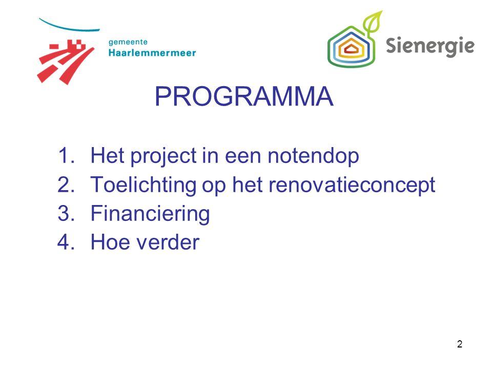 2 1.Het project in een notendop 2.Toelichting op het renovatieconcept 3.Financiering 4.Hoe verder PROGRAMMA