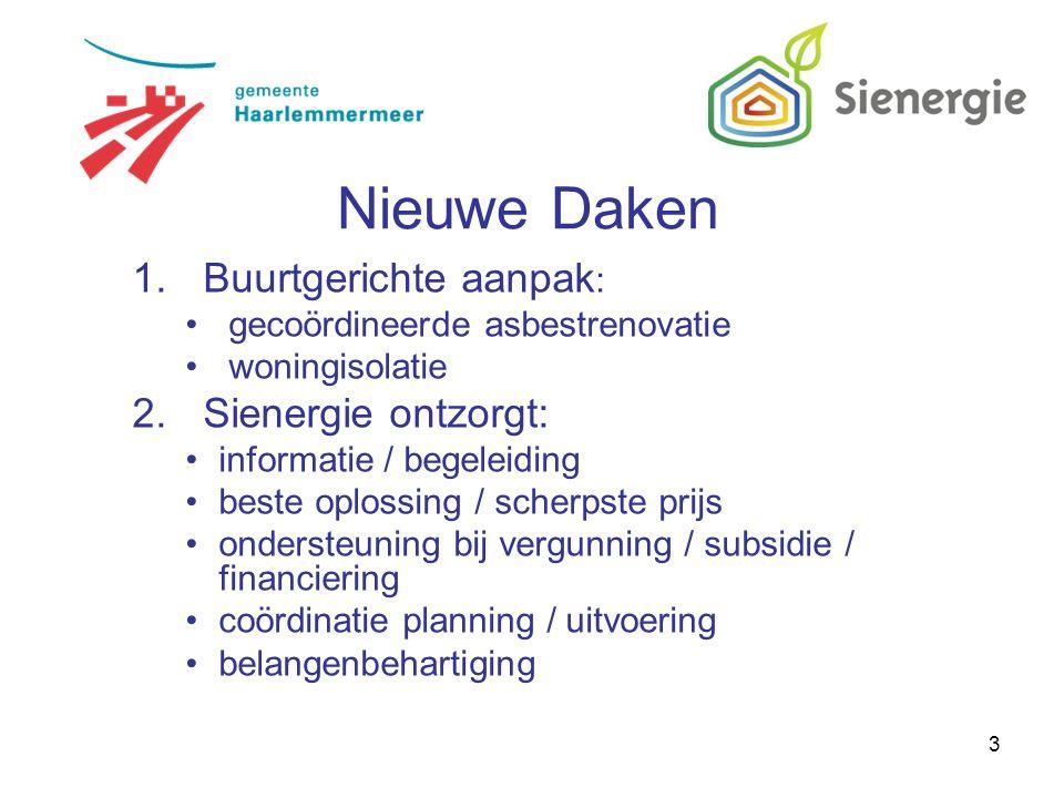 4 Daken en gevels: asbest golfplaten eraf isolatie erop nieuwe dakbedekking erop nieuwe gevelbeplating erop Nieuwe Daken Maar: waarom niet van de nood een deugd maken en ook de rest van de woning isoleren?
