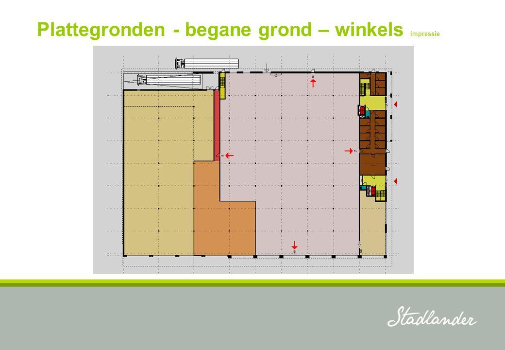 Plattegronden - begane grond – winkels impressie
