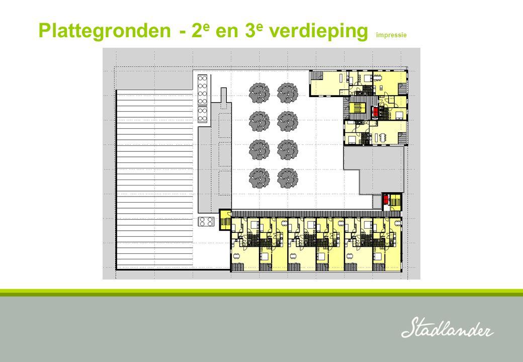 Plattegronden - 2 e en 3 e verdieping impressie