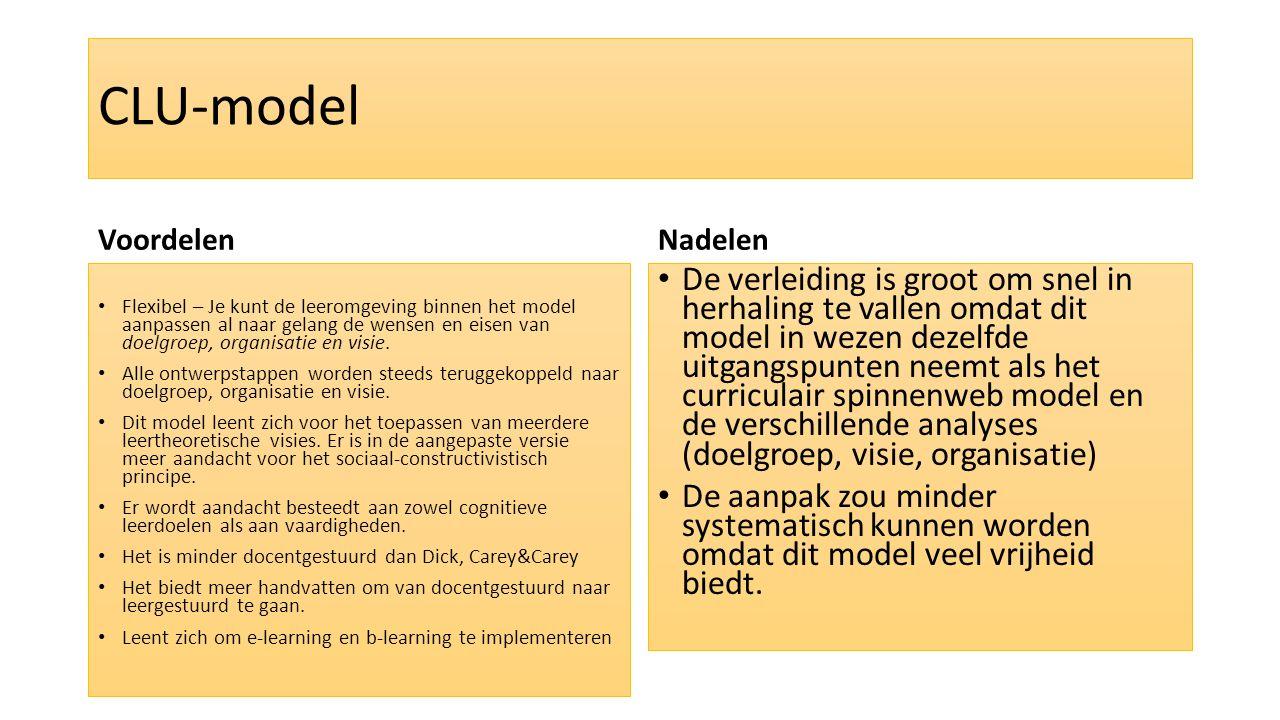 CLU-model Voordelen Flexibel – Je kunt de leeromgeving binnen het model aanpassen al naar gelang de wensen en eisen van doelgroep, organisatie en visi
