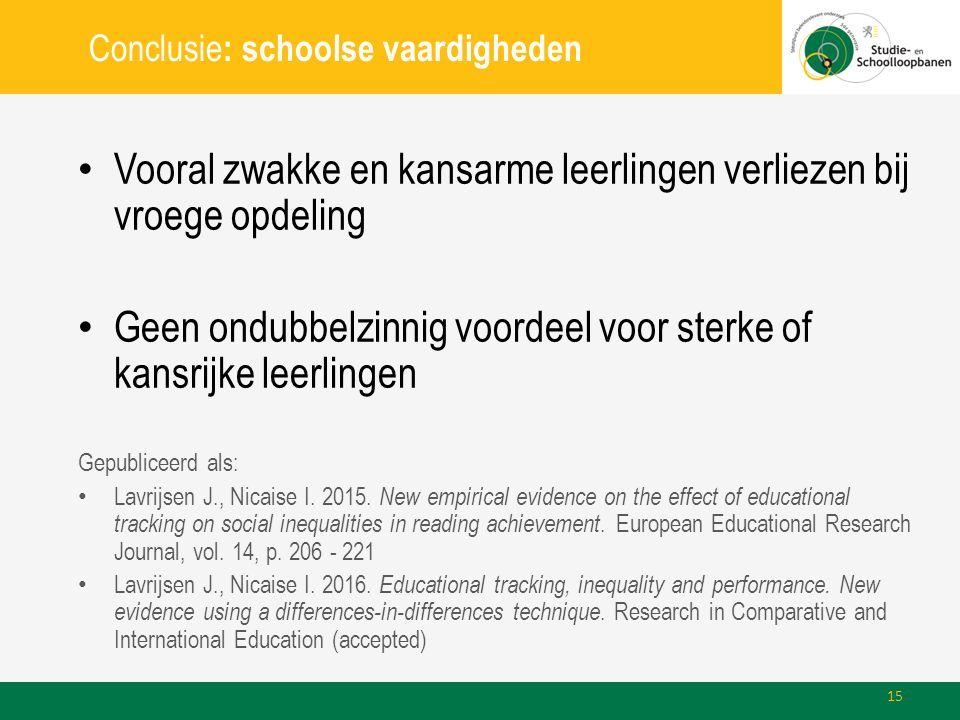 Conclusie : schoolse vaardigheden Vooral zwakke en kansarme leerlingen verliezen bij vroege opdeling Geen ondubbelzinnig voordeel voor sterke of kansrijke leerlingen Gepubliceerd als: Lavrijsen J., Nicaise I.