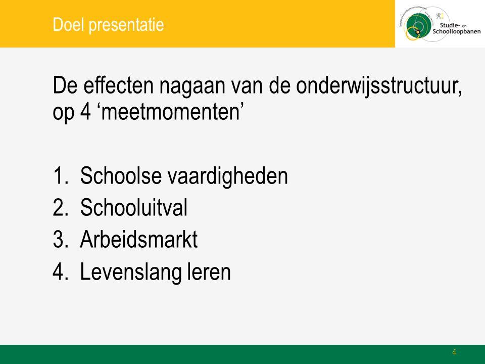 Doel presentatie De effecten nagaan van de onderwijsstructuur, op 4 'meetmomenten' 1.Schoolse vaardigheden 2.Schooluitval 3.Arbeidsmarkt 4.Levenslang leren 4