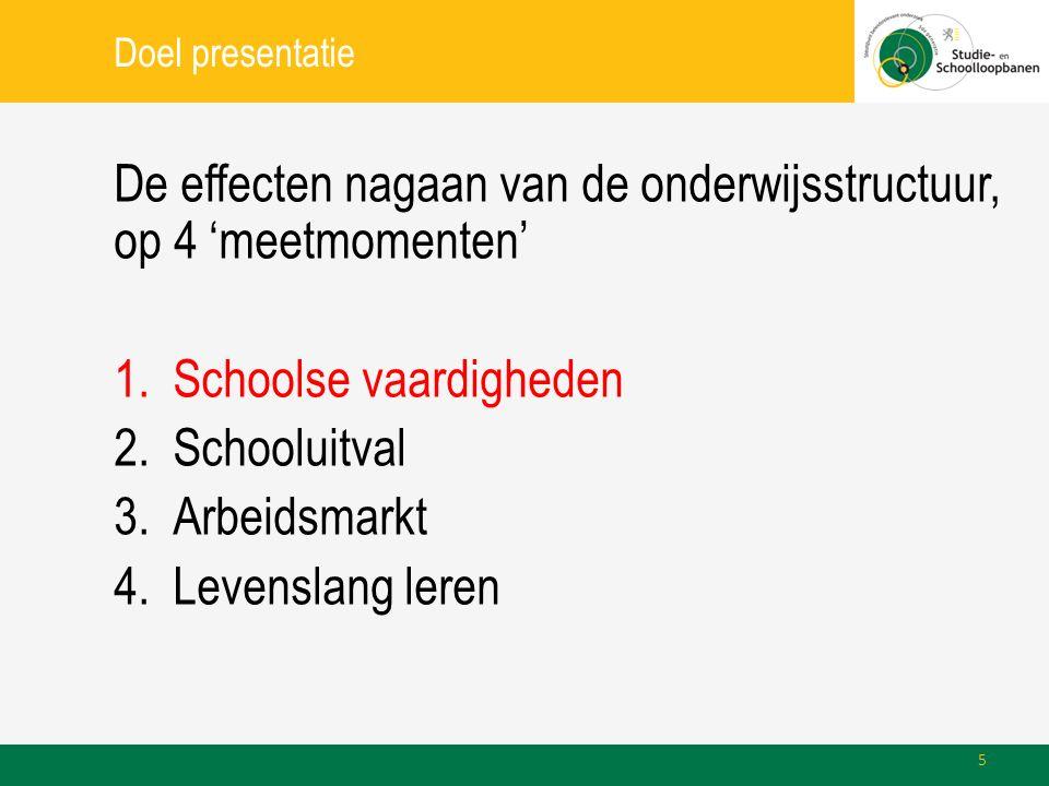 Doel presentatie De effecten nagaan van de onderwijsstructuur, op 4 'meetmomenten' 1.Schoolse vaardigheden 2.Schooluitval 3.Arbeidsmarkt 4.Levenslang leren 5