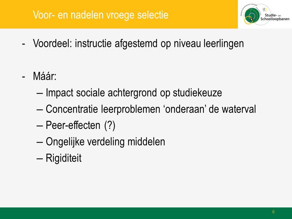 Voor- en nadelen vroege selectie -Voordeel: instructie afgestemd op niveau leerlingen -Máár: – Impact sociale achtergrond op studiekeuze – Concentratie leerproblemen 'onderaan' de waterval – Peer-effecten (?) – Ongelijke verdeling middelen – Rigiditeit 6
