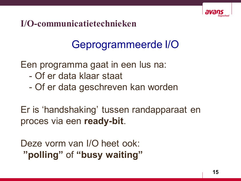 15 Geprogrammeerde I/O Een programma gaat in een lus na: - Of er data klaar staat - Of er data geschreven kan worden Er is 'handshaking' tussen randapparaat en proces via een ready-bit.