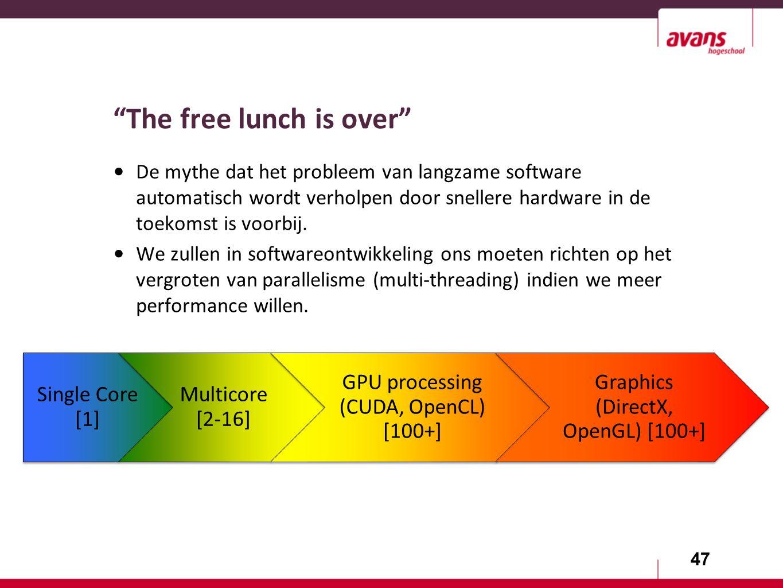 47 The free lunch is over De mythe dat het probleem van langzame software automatisch wordt verholpen door snellere hardware in de toekomst is voorbij.