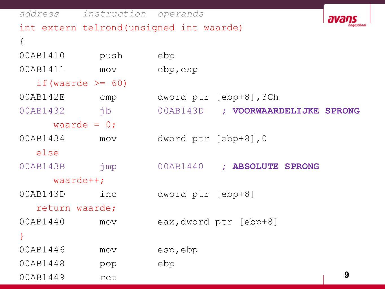 9 address instruction operands int extern telrond(unsigned int waarde) { 00AB1410 push ebp 00AB1411 mov ebp,esp if(waarde >= 60) 00AB142E cmp dword ptr [ebp+8],3Ch 00AB1432 jb 00AB143D ; VOORWAARDELIJKE SPRONG waarde = 0; 00AB1434 mov dword ptr [ebp+8],0 else 00AB143B jmp 00AB1440 ; ABSOLUTE SPRONG waarde++; 00AB143D inc dword ptr [ebp+8] return waarde; 00AB1440 mov eax,dword ptr [ebp+8] } 00AB1446 mov esp,ebp 00AB1448 pop ebp 00AB1449 ret