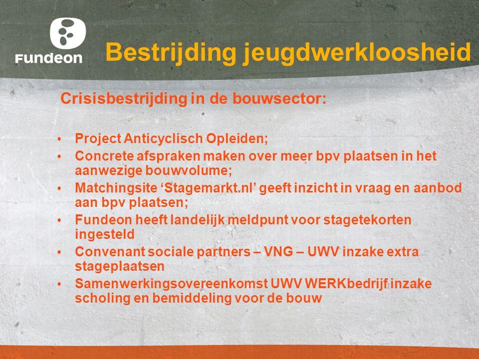 Bestrijding jeugdwerkloosheid Crisisbestrijding in de bouwsector: Project Anticyclisch Opleiden; Concrete afspraken maken over meer bpv plaatsen in he
