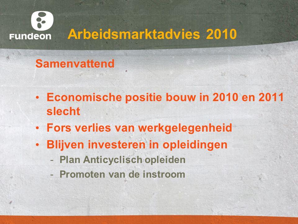 Arbeidsmarktadvies 2010 Samenvattend Economische positie bouw in 2010 en 2011 slecht Fors verlies van werkgelegenheid Blijven investeren in opleidinge