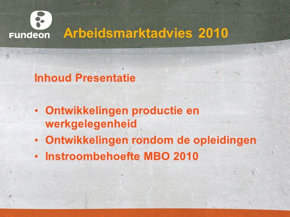 Arbeidsmarktadvies 2010 Inhoud Presentatie Ontwikkelingen productie en werkgelegenheid Ontwikkelingen rondom de opleidingen Instroombehoefte MBO 2010