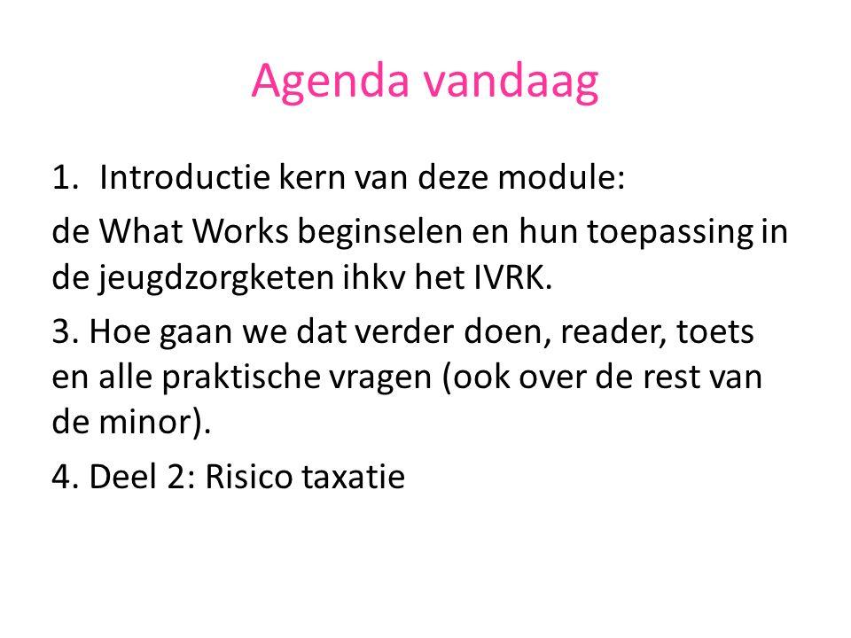 Agenda vandaag 1.Introductie kern van deze module: de What Works beginselen en hun toepassing in de jeugdzorgketen ihkv het IVRK.