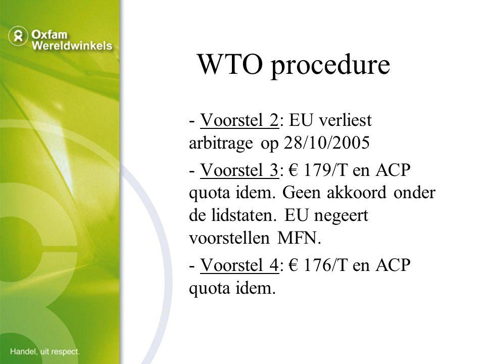 WTO procedure - Voorstel 2: EU verliest arbitrage op 28/10/2005 - Voorstel 3: € 179/T en ACP quota idem.