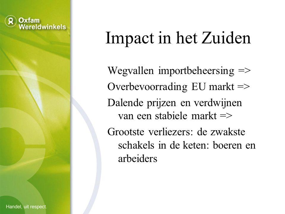 Impact in het Zuiden Wegvallen importbeheersing => Overbevoorrading EU markt => Dalende prijzen en verdwijnen van een stabiele markt => Grootste verliezers: de zwakste schakels in de keten: boeren en arbeiders