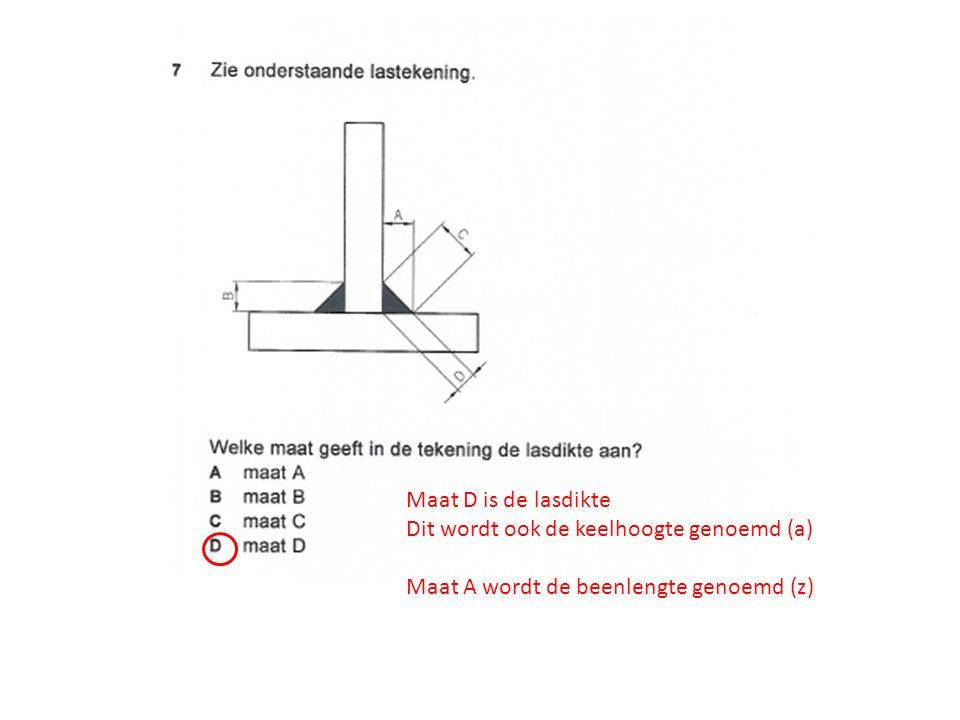 Maat D is de lasdikte Dit wordt ook de keelhoogte genoemd (a) Maat A wordt de beenlengte genoemd (z)