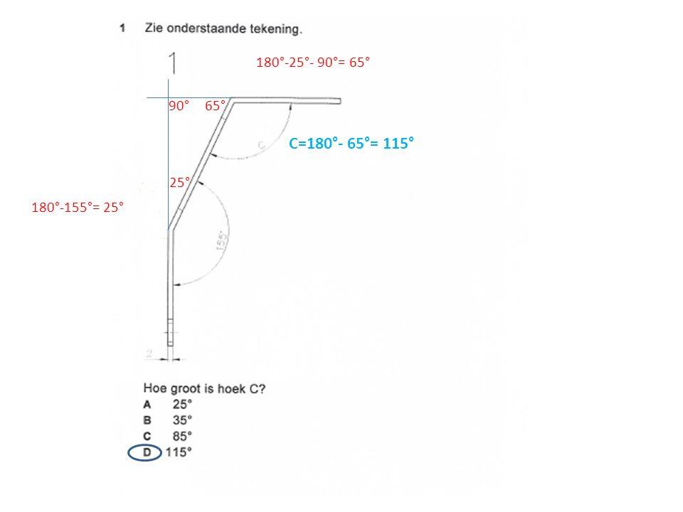 25° 90° 180°-25°- 90°= 65° C=180°- 65°= 115° 65° 180°-155°= 25°