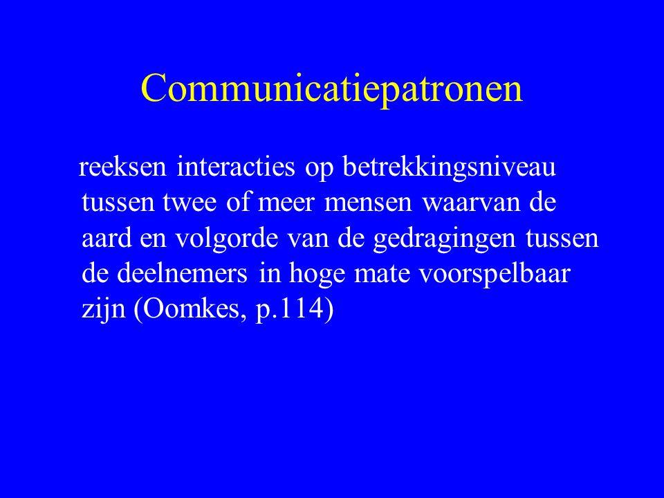 Communicatiepatronen reeksen interacties op betrekkingsniveau tussen twee of meer mensen waarvan de aard en volgorde van de gedragingen tussen de deelnemers in hoge mate voorspelbaar zijn (Oomkes, p.114)