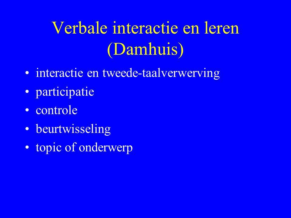 Verbale interactie en leren (Damhuis) interactie en tweede-taalverwerving participatie controle beurtwisseling topic of onderwerp