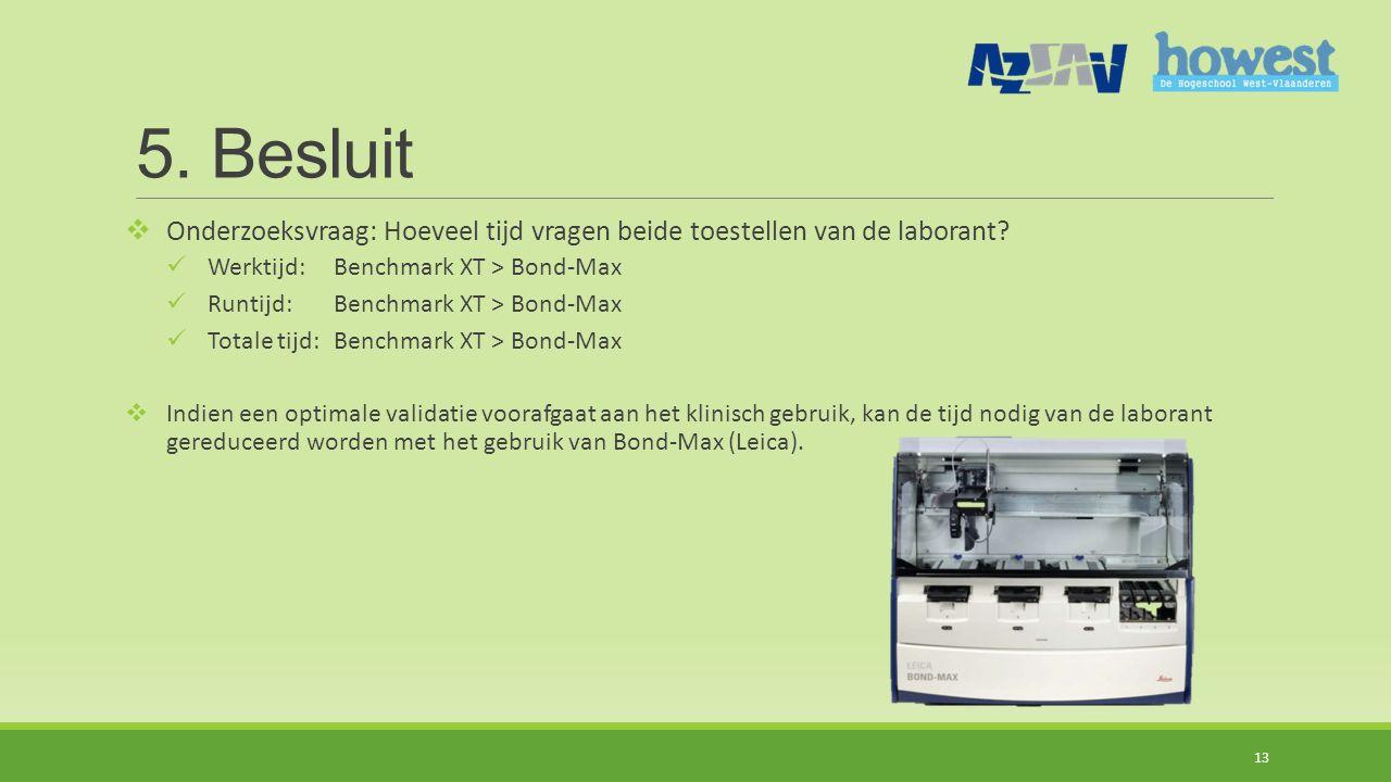 5.Besluit  Onderzoeksvraag: Hoeveel tijd vragen beide toestellen van de laborant.
