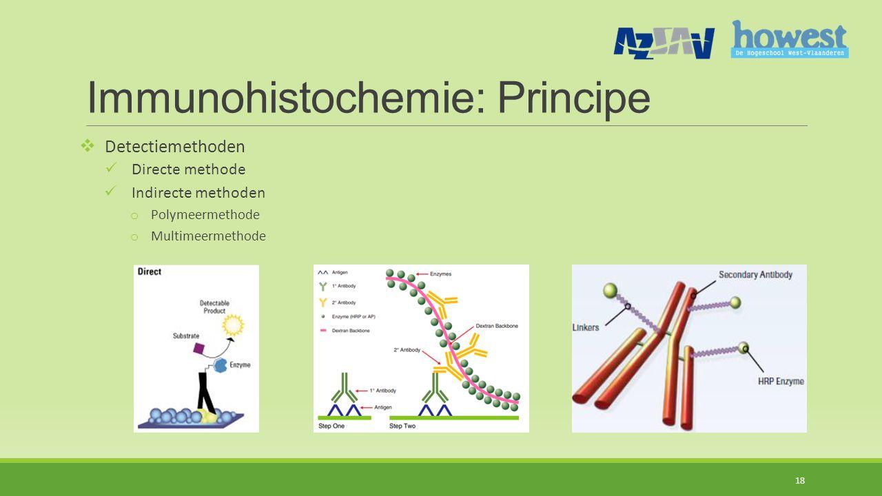 Immunohistochemie: Principe  Detectiemethoden Directe methode Indirecte methoden o Polymeermethode o Multimeermethode 18