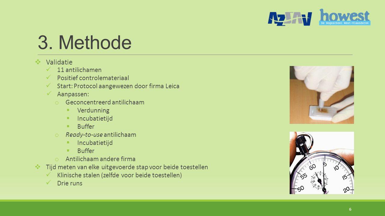 3. Methode  Validatie 11 antilichamen Positief controlemateriaal Start: Protocol aangewezen door firma Leica Aanpassen: o Geconcentreerd antilichaam