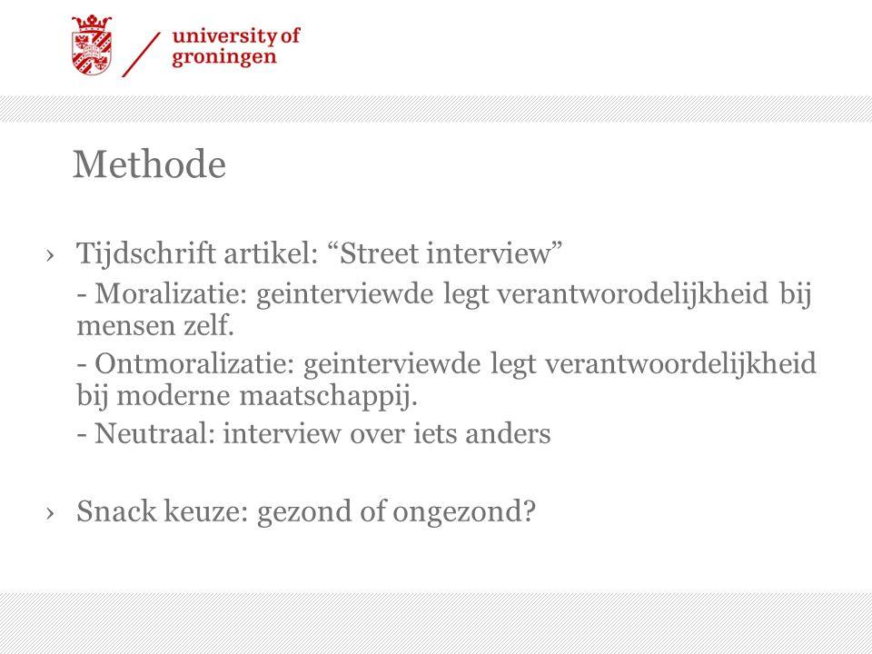Methode ›Tijdschrift artikel: Street interview - Moralizatie: geinterviewde legt verantworodelijkheid bij mensen zelf.