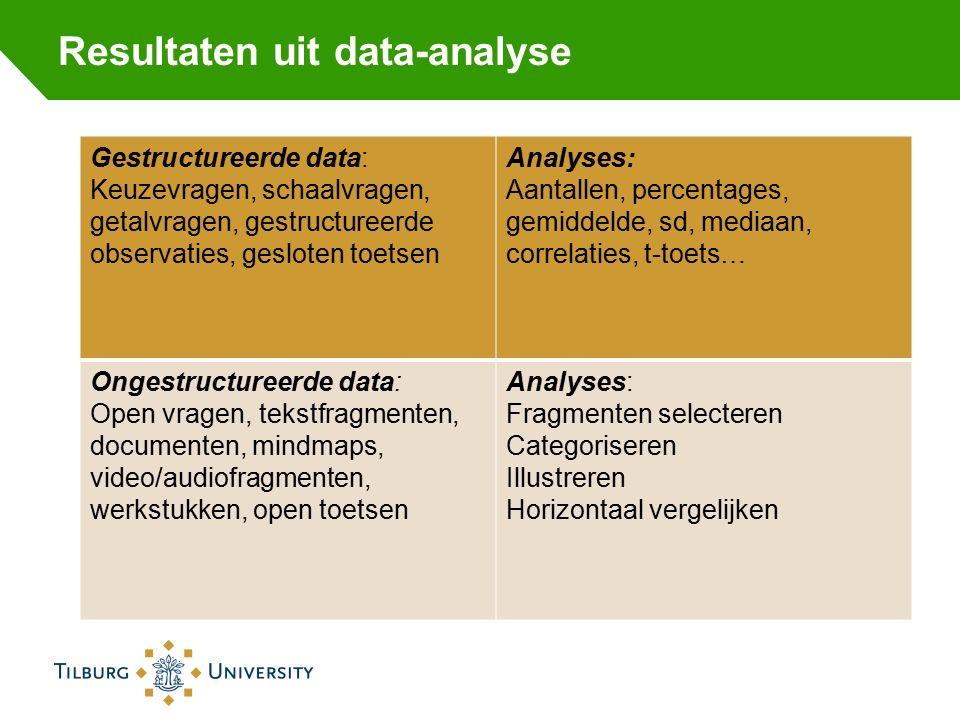 Resultaten uit data-analyse Gestructureerde data: Keuzevragen, schaalvragen, getalvragen, gestructureerde observaties, gesloten toetsen Analyses: Aant