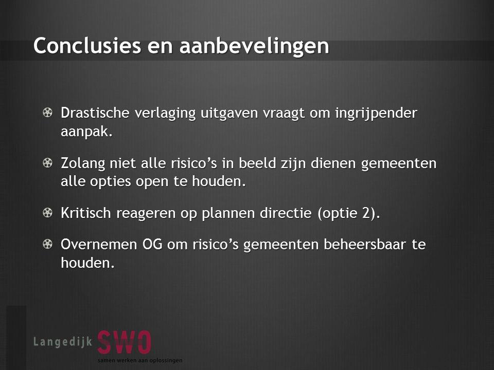 Conclusies en aanbevelingen Drastische verlaging uitgaven vraagt om ingrijpender aanpak.