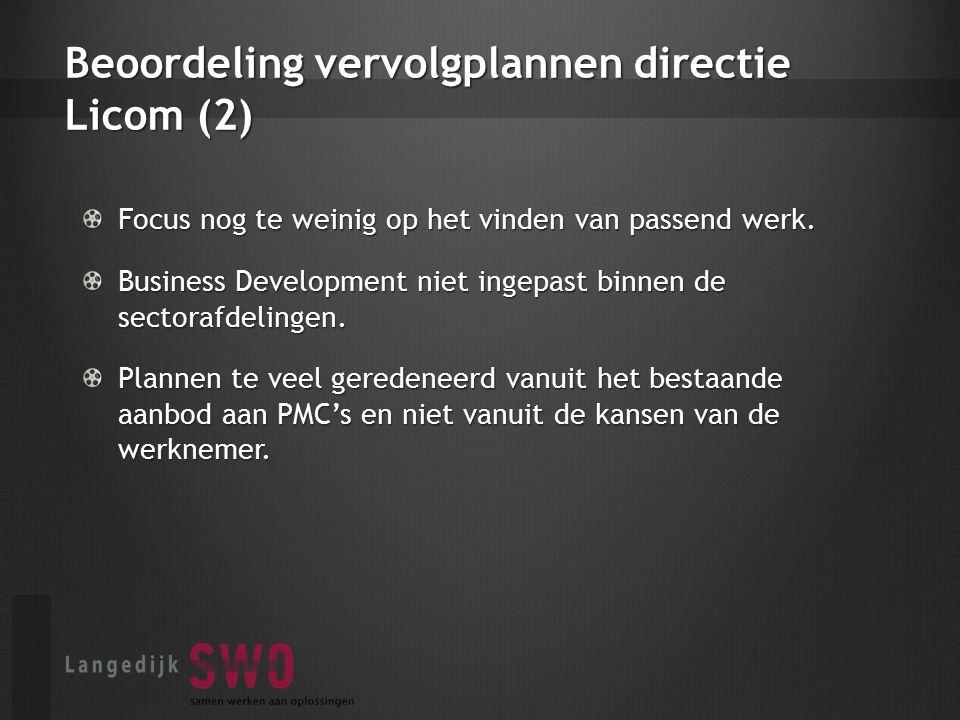 Beoordeling vervolgplannen directie Licom (2) Focus nog te weinig op het vinden van passend werk.