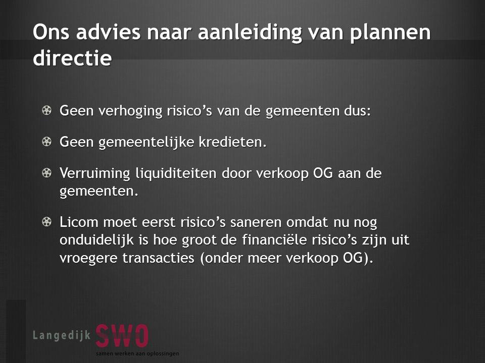 Ons advies naar aanleiding van plannen directie Geen verhoging risico's van de gemeenten dus: Geen gemeentelijke kredieten.