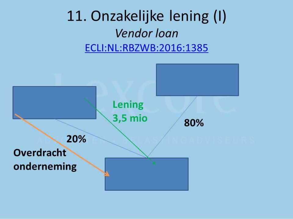 11. Onzakelijke lening (I) Vendor loan ECLI:NL:RBZWB:2016:1385 ECLI:NL:RBZWB:2016:1385 80% 20% Overdracht onderneming Lening 3,5 mio