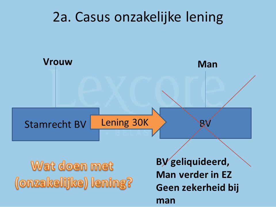 2a. Casus onzakelijke lening Stamrecht BV BV Vrouw Man Lening 30K BV geliquideerd, Man verder in EZ Geen zekerheid bij man