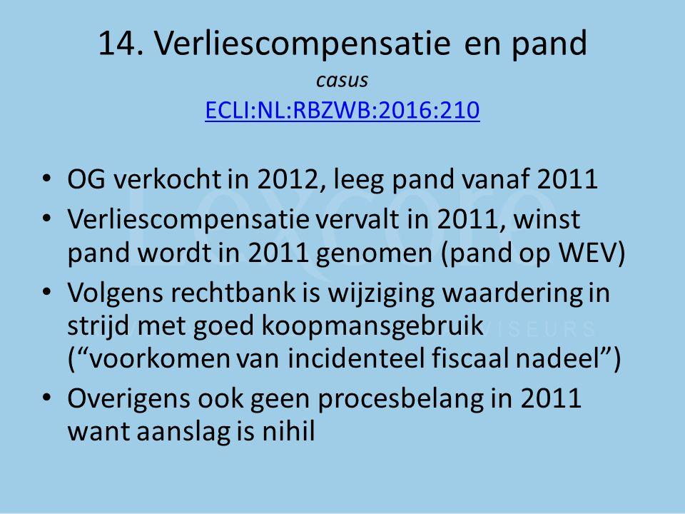 14. Verliescompensatie en pand casus ECLI:NL:RBZWB:2016:210 ECLI:NL:RBZWB:2016:210 OG verkocht in 2012, leeg pand vanaf 2011 Verliescompensatie verval