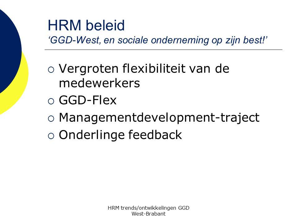 HRM beleid 'GGD-West, en sociale onderneming op zijn best!'  Vergroten flexibiliteit van de medewerkers  GGD-Flex  Managementdevelopment-traject 