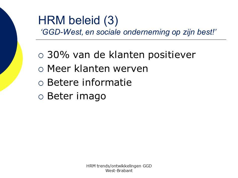 HRM beleid (3) 'GGD-West, en sociale onderneming op zijn best!'  30% van de klanten positiever  Meer klanten werven  Betere informatie  Beter imag