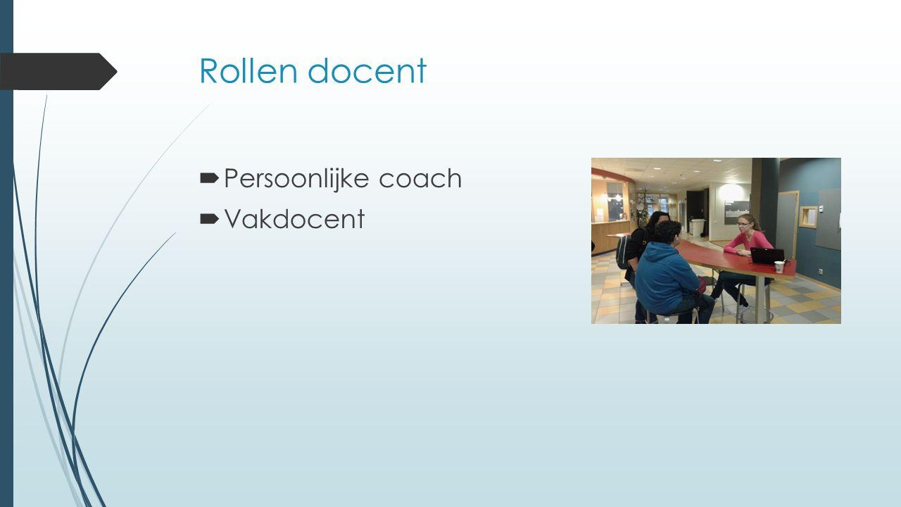 Rollen docent  Persoonlijke coach  Vakdocent